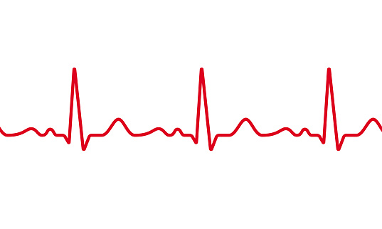 Medical ECG or EKG pulse electrocardiogram. Vector red line heart beat cardiogram chart seamless repeated on white background. Healthcare digital medical concept life rhythm frequency.